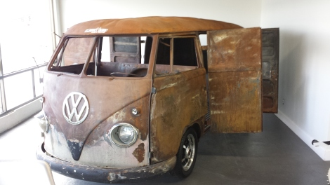 Rusted out Kombi inside the VW shop.