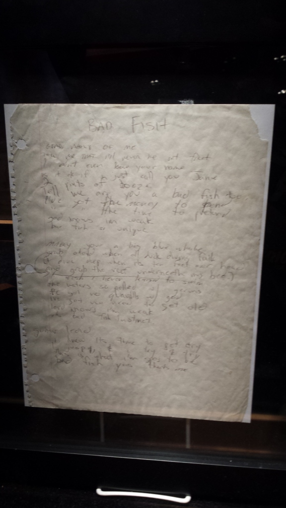 "The genuine notebook paper that Bradley Nowell penned the song ""Badfish"" (Hard Rock Casino)."